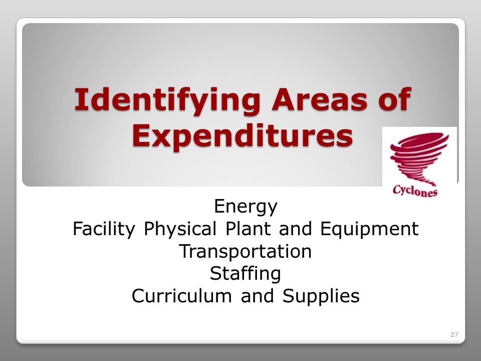 27 Identifying Areas of Expenditures Energy Facility Physical Plant and Equipment Transportation Staffing Curriculum and Supplies