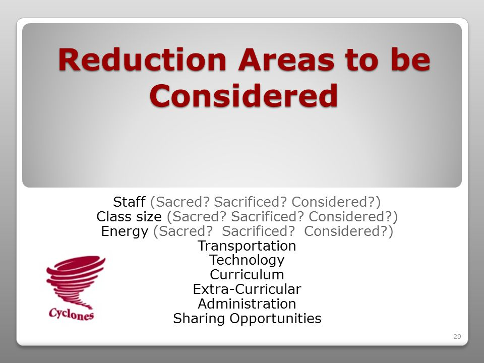 29 Reduction Areas to be Considered Staff (Sacred.