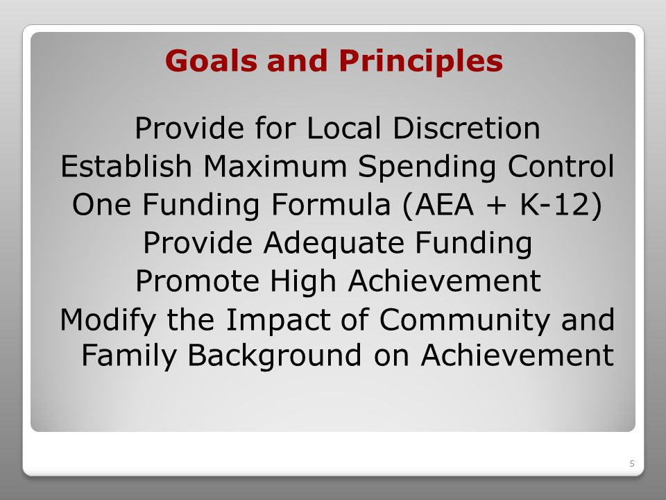 5 Provide for Local Discretion Establish Maximum Spending Control One Funding Formula (AEA + K-12) Provide Adequate Funding Promote High Achievement Modify the Impact of Community and Family Background on Achievement Goals and Principles