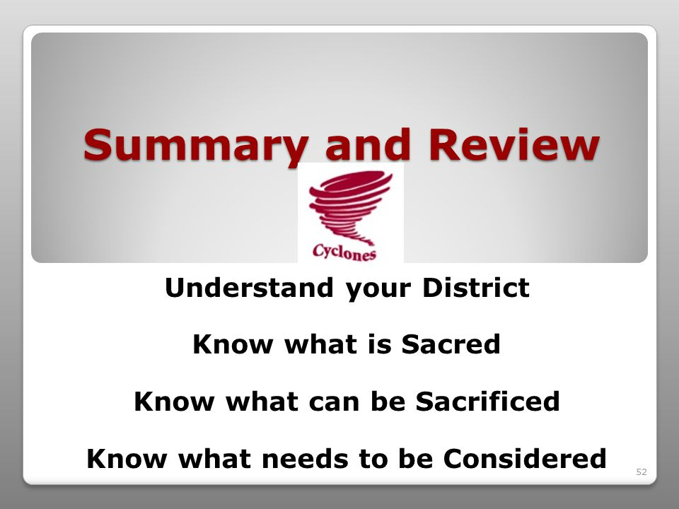 52 Summary and Review Understand your District Know what is Sacred Know what can be Sacrificed Know what needs to be Considered