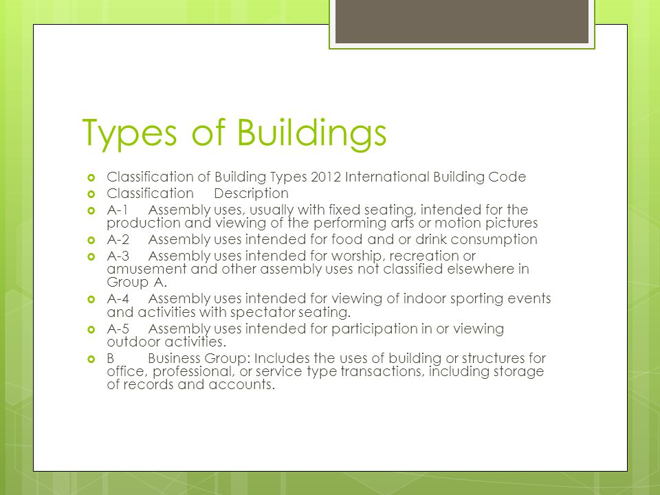 Types of Buildings  Classification of Building Types 2012 International Building Code  ClassificationDescription  A-1Assembly uses, usually with fi
