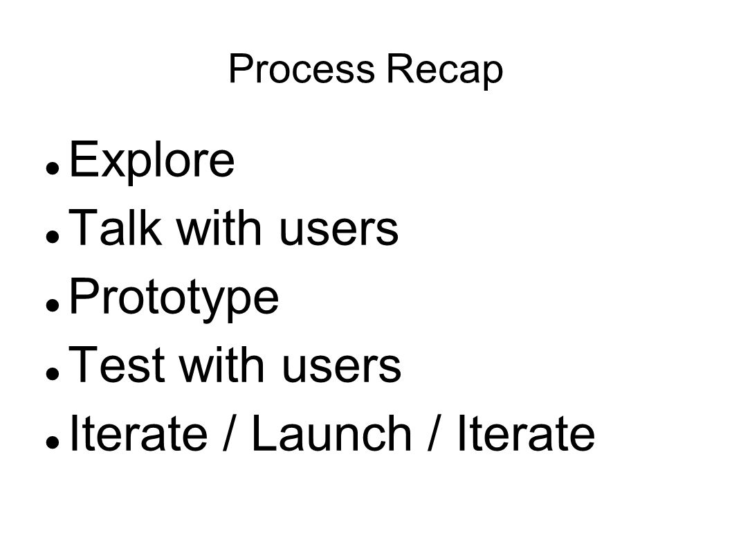 Process Recap Explore Talk with users Prototype Test with users Iterate / Launch / Iterate