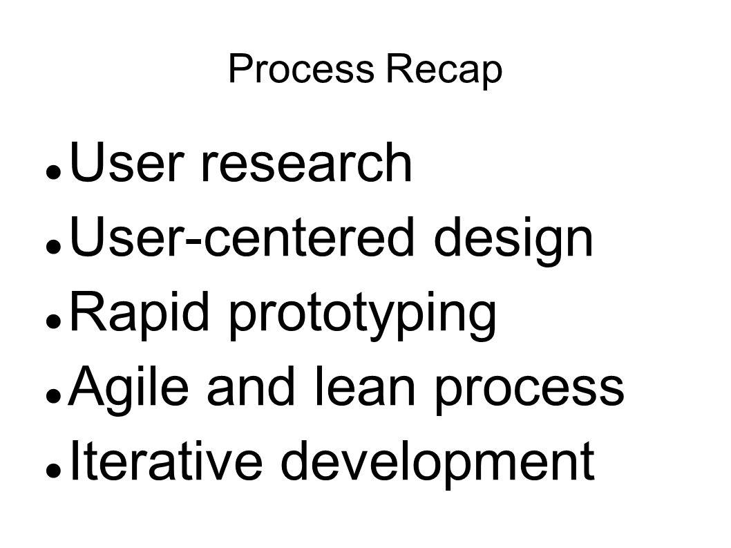 Process Recap User research User-centered design Rapid prototyping Agile and lean process Iterative development