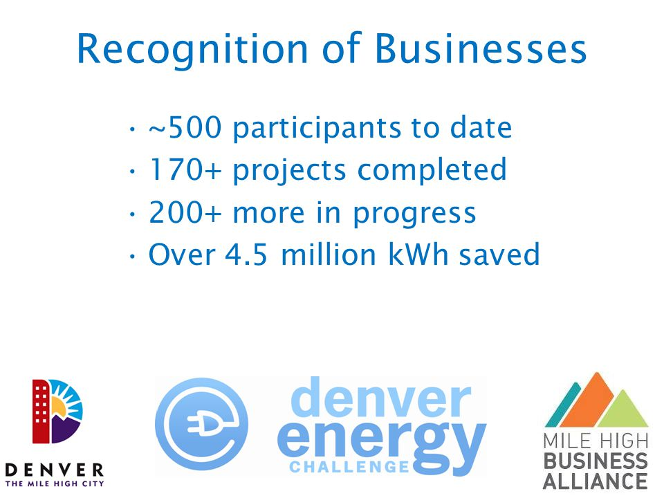 Recognition of Businesses ~500 participants to date 170+ projects completed 200+ more in progress Over 4.5 million kWh saved