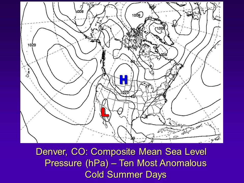 Denver, CO: Composite Mean Sea Level Pressure (hPa) – Ten Most Anomalous Cold Summer Days