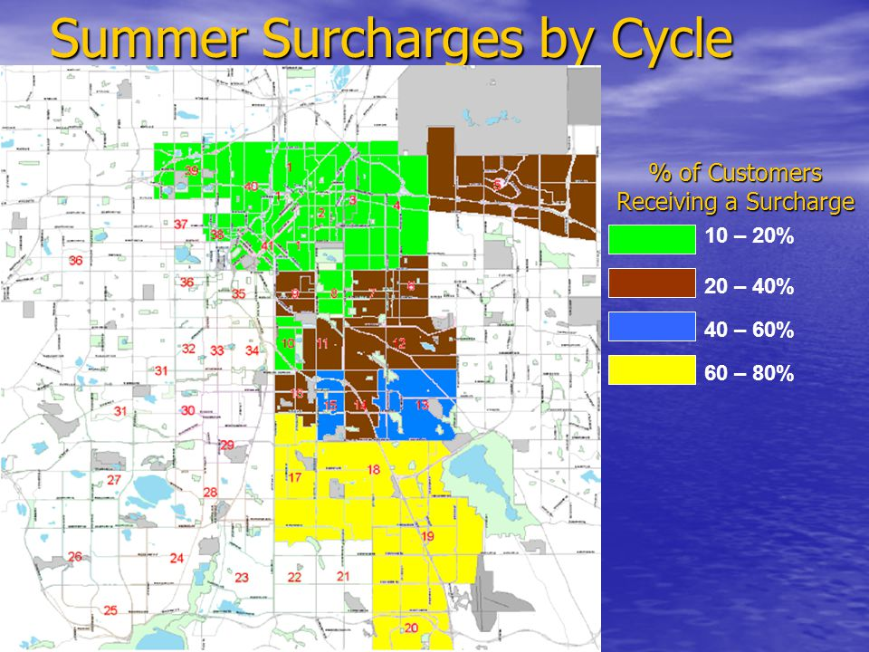 Summer Surcharges by Cycle % of Customers Receiving a Surcharge 10 – 20% 20 – 40% 40 – 60% 60 – 80%