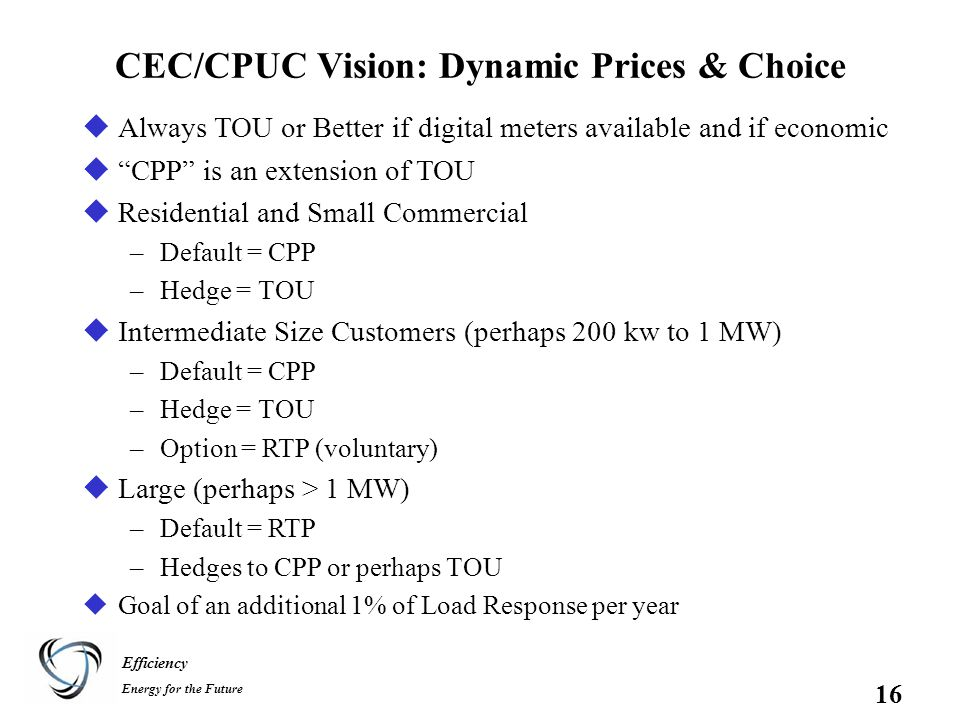 Efficiency Energy for the Future 16 CEC/CPUC Vision: Dynamic Prices & Choice uAlways TOU or Better if digital meters available and if economic u CPP is an extension of TOU uResidential and Small Commercial –Default = CPP –Hedge = TOU uIntermediate Size Customers (perhaps 200 kw to 1 MW) –Default = CPP –Hedge = TOU –Option = RTP (voluntary) uLarge (perhaps > 1 MW) –Default = RTP –Hedges to CPP or perhaps TOU uGoal of an additional 1% of Load Response per year