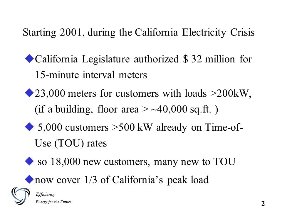 Efficiency Energy for the Future 2 uCalifornia Legislature authorized $ 32 million for 15-minute interval meters u23,000 meters for customers with loads >200kW, (if a building, floor area > ~40,000 sq.ft.