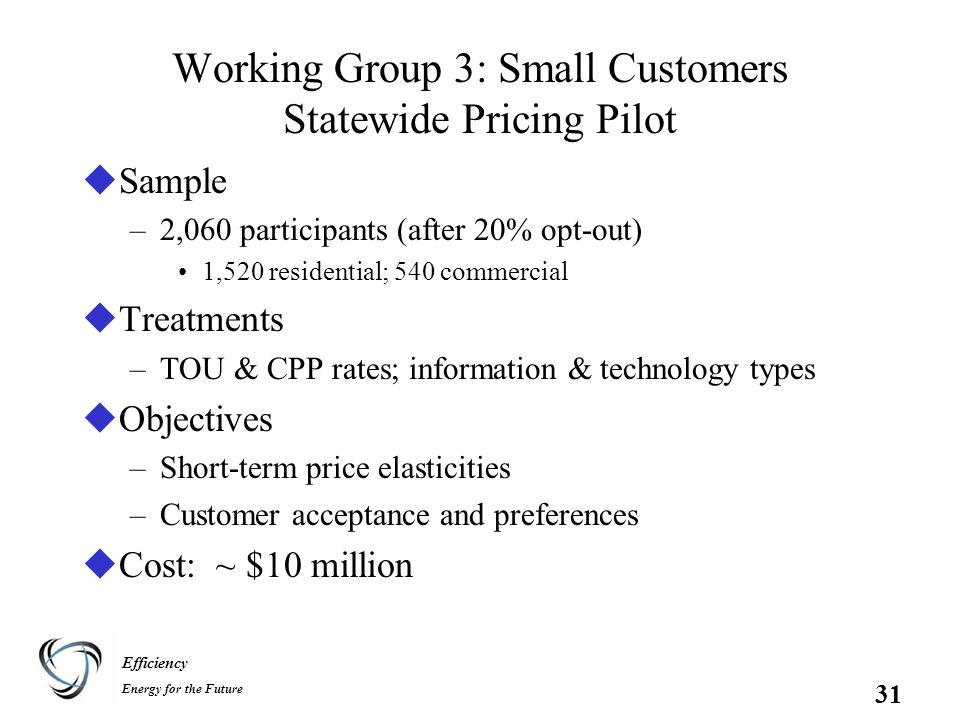 Efficiency Energy for the Future 31 Working Group 3: Small Customers Statewide Pricing Pilot uSample –2,060 participants (after 20% opt-out) 1,520 residential; 540 commercial uTreatments –TOU & CPP rates; information & technology types uObjectives –Short-term price elasticities –Customer acceptance and preferences uCost: ~ $10 million