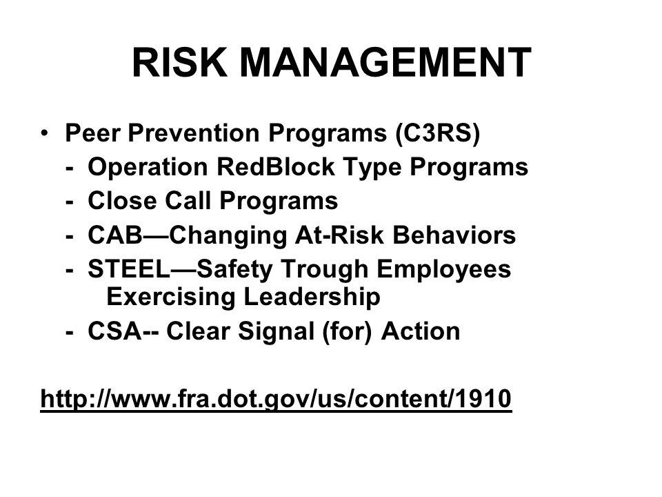 RISK MANAGEMENT Peer Prevention Programs (C3RS) - Operation RedBlock Type Programs - Close Call Programs - CAB—Changing At-Risk Behaviors - STEEL—Safe
