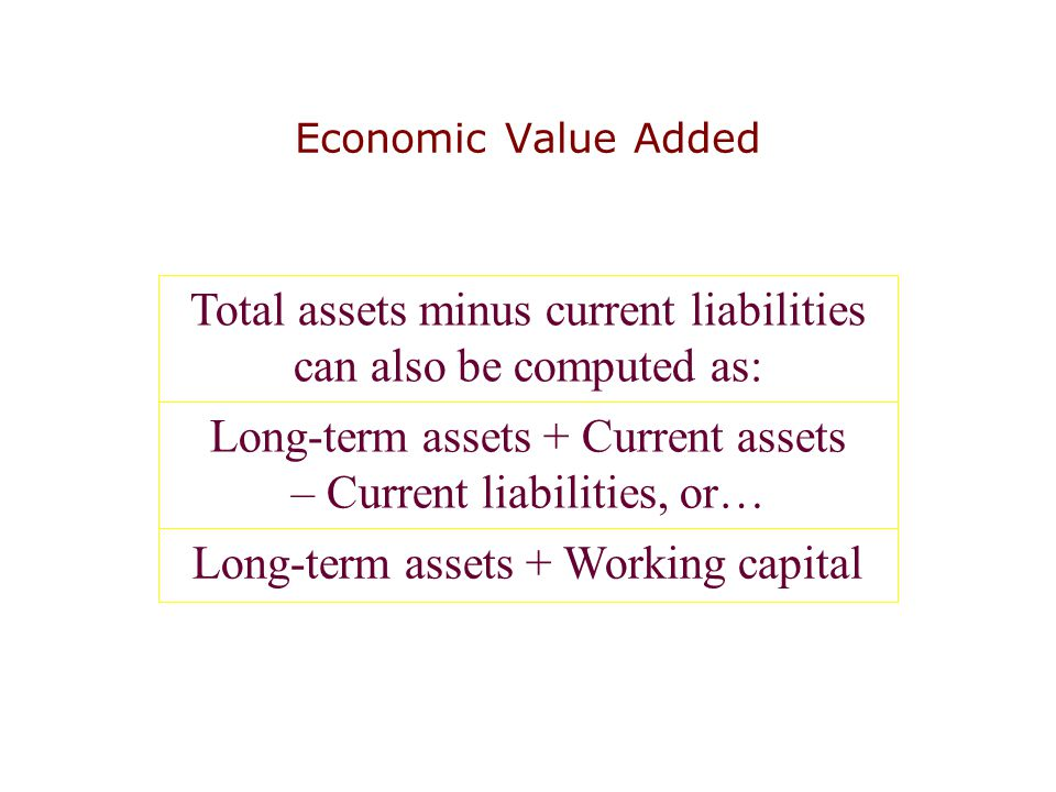 Economic Value Added Total assets minus current liabilities can also be computed as: Long-term assets + Current assets – Current liabilities, or… Long