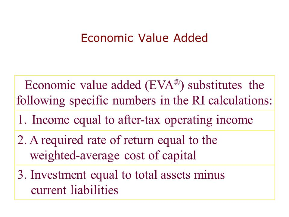 Economic Value Added Economic value added (EVA ® ) substitutes the following specific numbers in the RI calculations: 1.Income equal to after-tax oper