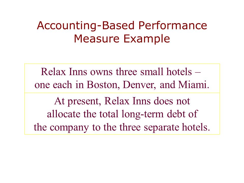 Accounting-Based Performance Measure Example Relax Inns owns three small hotels – one each in Boston, Denver, and Miami. At present, Relax Inns does n