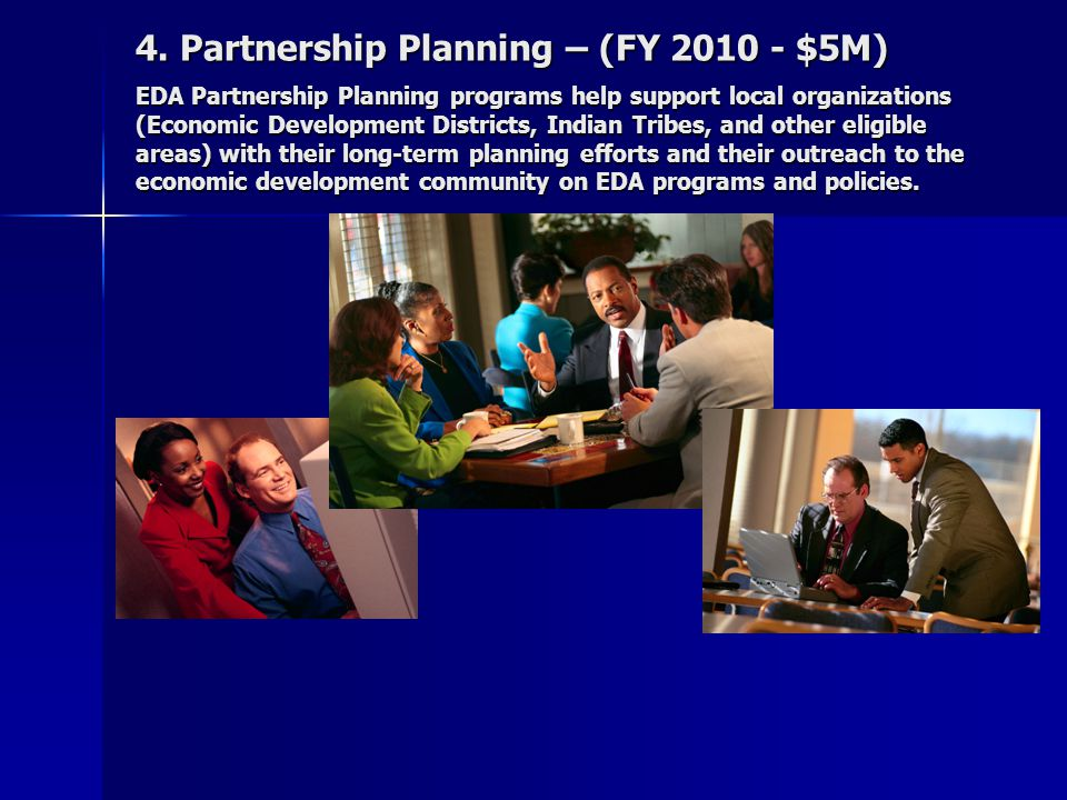 EDA Planning Partnership Grants EDA provides Planning Partnership grants to 3 Economic Development Districts in Wyoming: EDA provides Planning Partnership grants to 3 Economic Development Districts in Wyoming: High Plains EDD, Big Horn Mountain Coalition, Northeast Wyoming EDC These annual grants usually average about $60,000 per year These annual grants usually average about $60,000 per year