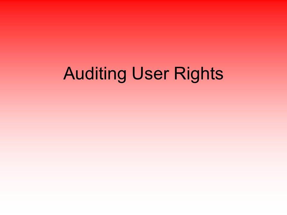 Auditing User Rights