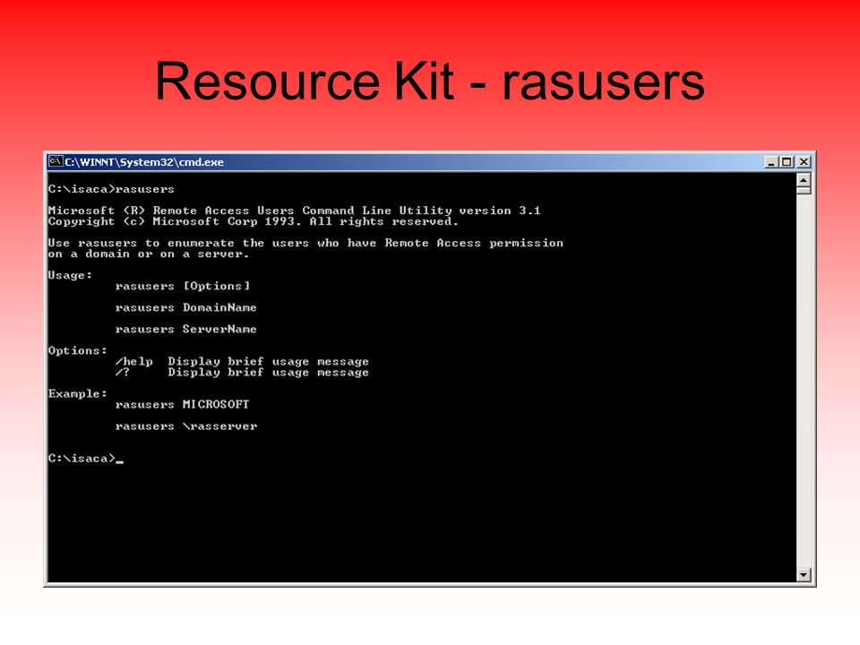 Resource Kit - rasusers