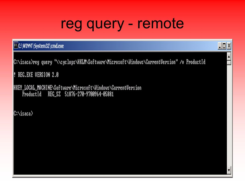 reg query - remote