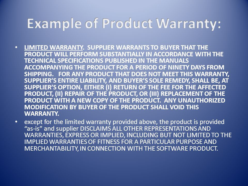 LIMITED WARRANTY. SUPPLIER WARRANTS TO BUYER THAT THE PRODUCT WILL PERFORM SUBSTANTIALLY IN ACCORDANCE WITH THE TECHNICAL SPECIFICATIONS PUBLISHED IN