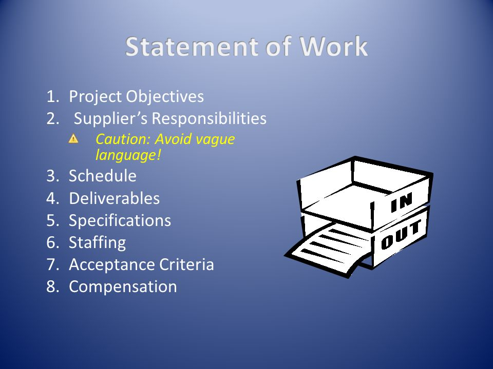 1. Project Objectives 2.Supplier's Responsibilities Caution: Avoid vague language.