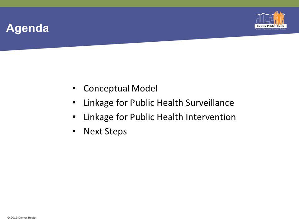 Agenda Conceptual Model Linkage for Public Health Surveillance Linkage for Public Health Intervention Next Steps