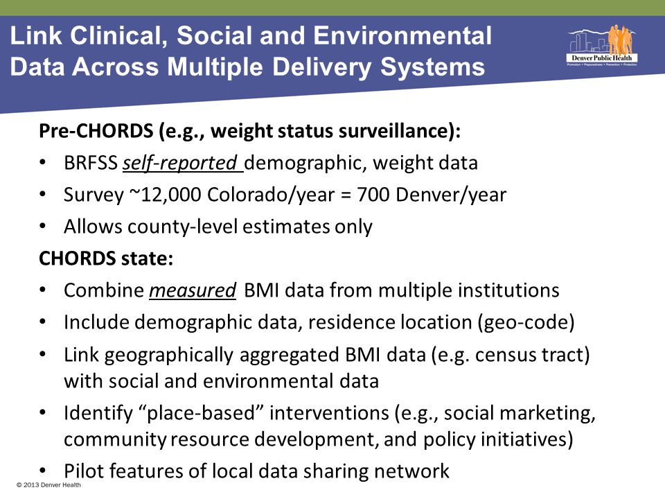 Link Clinical, Social and Environmental Data Across Multiple Delivery Systems Pre-CHORDS (e.g., weight status surveillance): BRFSS self-reported demographic, weight data Survey ~12,000 Colorado/year = 700 Denver/year Allows county-level estimates only CHORDS state: Combine measured BMI data from multiple institutions Include demographic data, residence location (geo-code) Link geographically aggregated BMI data (e.g.