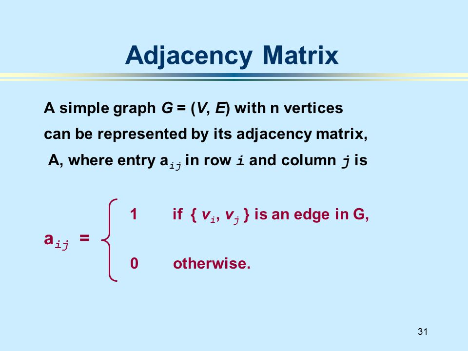 31 A simple graph G = (V, E) with n vertices can be represented by its adjacency matrix, A, where entry a ij in row i and column j is 1 if { v i, v j