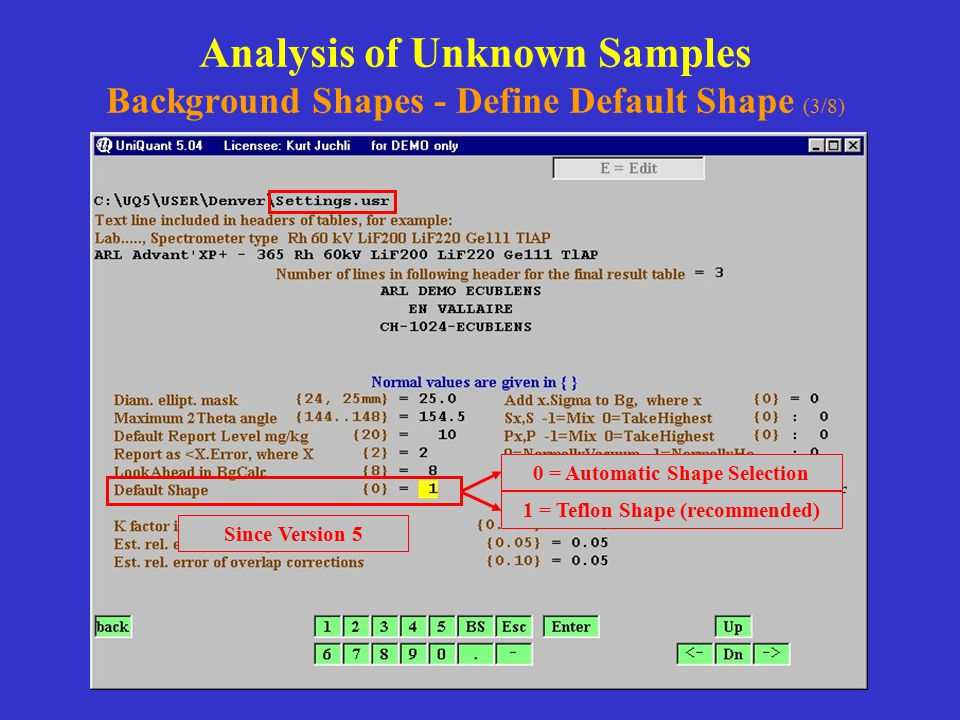 Analysis of Unknown Samples Background Shapes - Define Default Shape (3/8) Since Version 5 0 = Automatic Shape Selection 1 = Teflon Shape (recommended