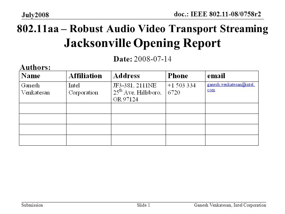 doc.: IEEE 802.11-08/0758r2 Submission July2008 Ganesh Venkatesan, Intel CorporationSlide 1 802.11aa – Robust Audio Video Transport Streaming Jacksonville Opening Report Date: 2008-07-14 Authors: