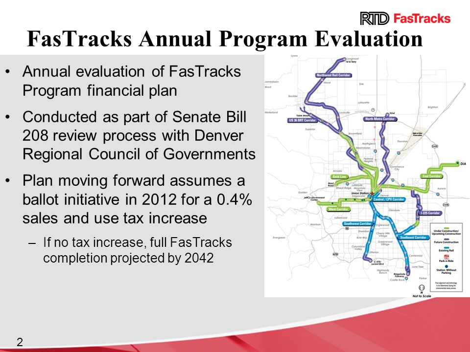 FasTracks Annual Program Evaluation Annual evaluation of FasTracks Program financial plan Conducted as part of Senate Bill 208 review process with Denver Regional Council of Governments Plan moving forward assumes a ballot initiative in 2012 for a 0.4% sales and use tax increase –If no tax increase, full FasTracks completion projected by 2042 2