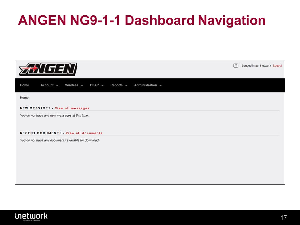 Confidential17Confidential17 ANGEN NG9-1-1 Dashboard Navigation