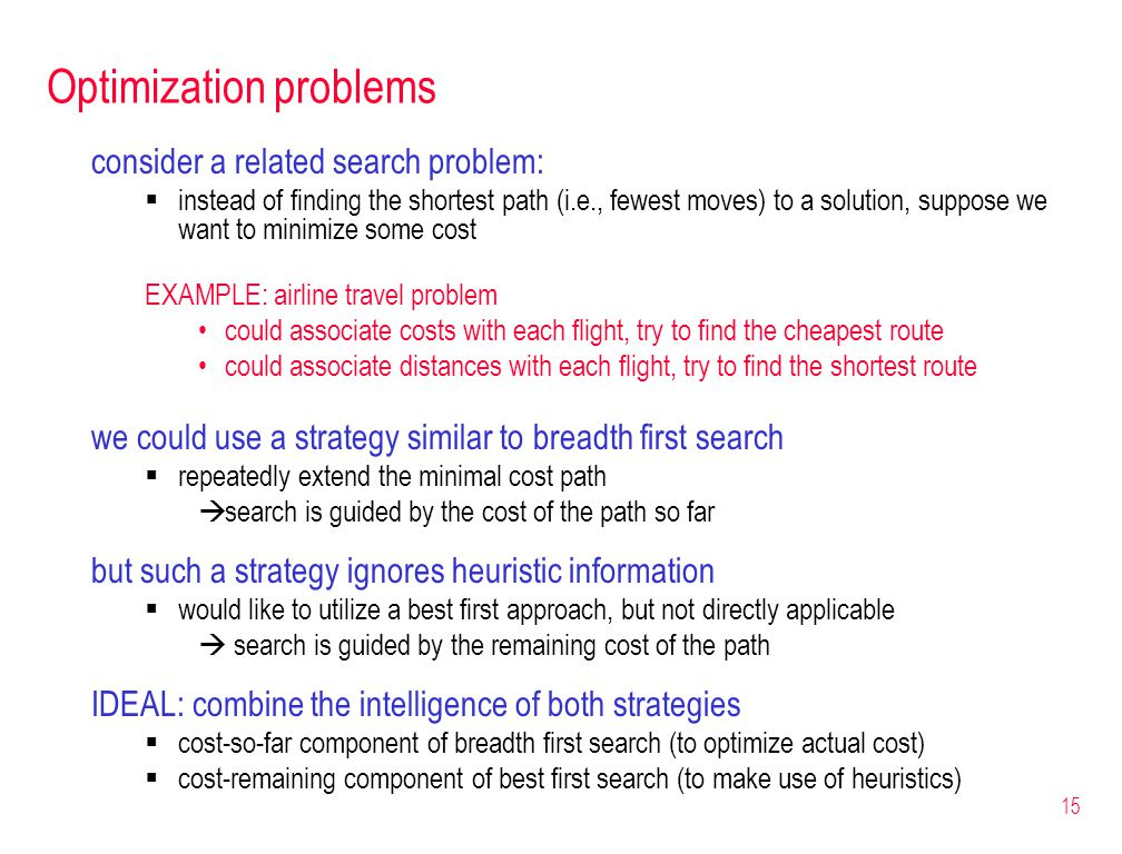 15 Optimization problems consider a related search problem:  instead of finding the shortest path (i.e., fewest moves) to a solution, suppose we want