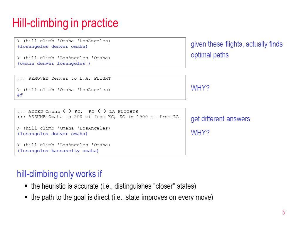 5 Hill-climbing in practice > (hill-climb 'Omaha 'LosAngeles) (losangeles denver omaha) > (hill-climb 'LosAngeles 'Omaha) (omaha denver losangeles ) g