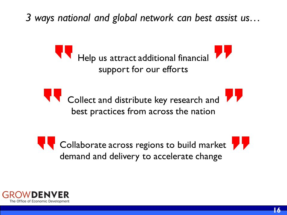 16 Help us attract additional financial support for our efforts Collect and distribute key research and best practices from across the nation 3 ways national and global network can best assist us… Collaborate across regions to build market demand and delivery to accelerate change