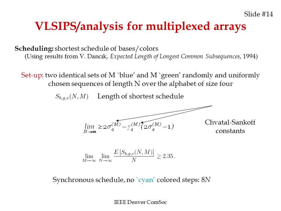 Slide #14 VLSIPS/analysis for multiplexed arrays Scheduling: shortest schedule of bases/colors (Using results from V. Dancık, Expected Length of Longe