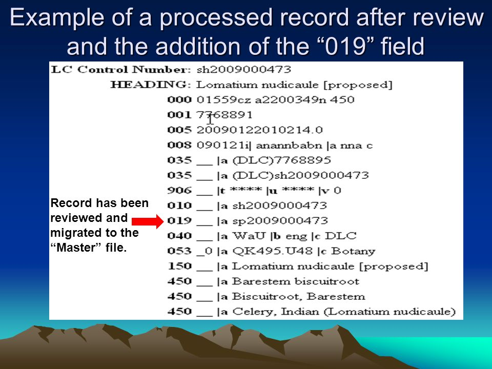 Example of a processed record after review and the addition of the 019 field Record has been reviewed and migrated to the Master file.