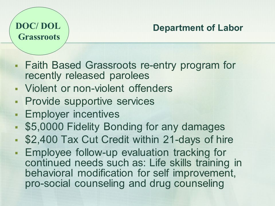 Department of Labor  Faith Based Grassroots re-entry program for recently released parolees  Violent or non-violent offenders  Provide supportive services  Employer incentives  $5,0000 Fidelity Bonding for any damages  $2,400 Tax Cut Credit within 21-days of hire  Employee follow-up evaluation tracking for continued needs such as: Life skills training in behavioral modification for self improvement, pro-social counseling and drug counseling DOC/ DOL Grassroots