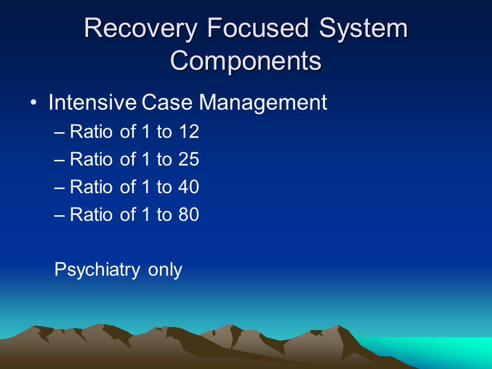 Recovery Focused System Components Intensive Case Management –Ratio of 1 to 12 –Ratio of 1 to 25 –Ratio of 1 to 40 –Ratio of 1 to 80 Psychiatry only