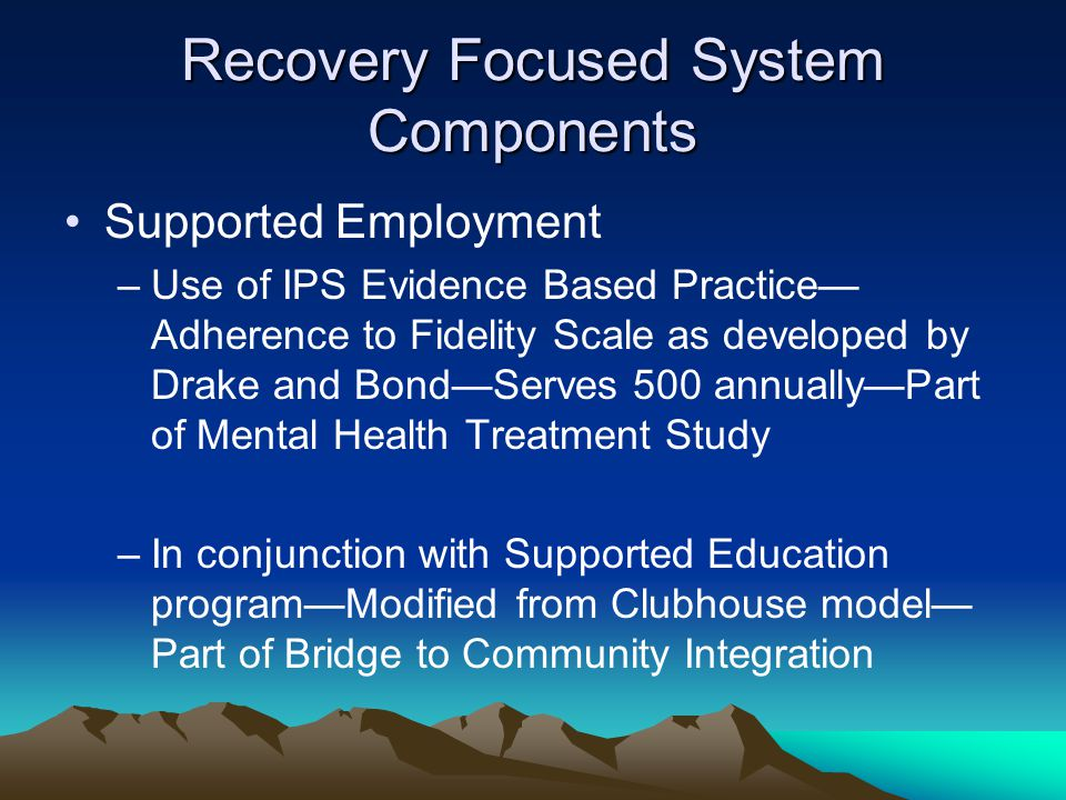 Recovery Focused System Components Supported Employment –Use of IPS Evidence Based Practice— Adherence to Fidelity Scale as developed by Drake and Bond—Serves 500 annually—Part of Mental Health Treatment Study –In conjunction with Supported Education program—Modified from Clubhouse model— Part of Bridge to Community Integration