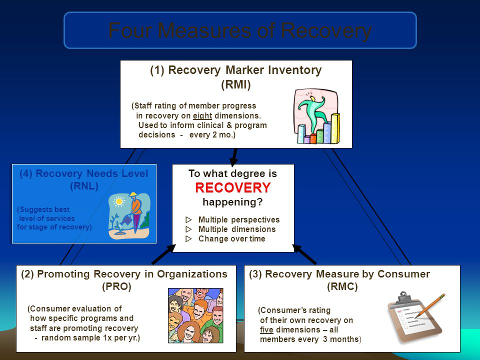 (1)Recovery Marker Inventory (RMI) (Staff rating of member progress in recovery on eight dimensions.