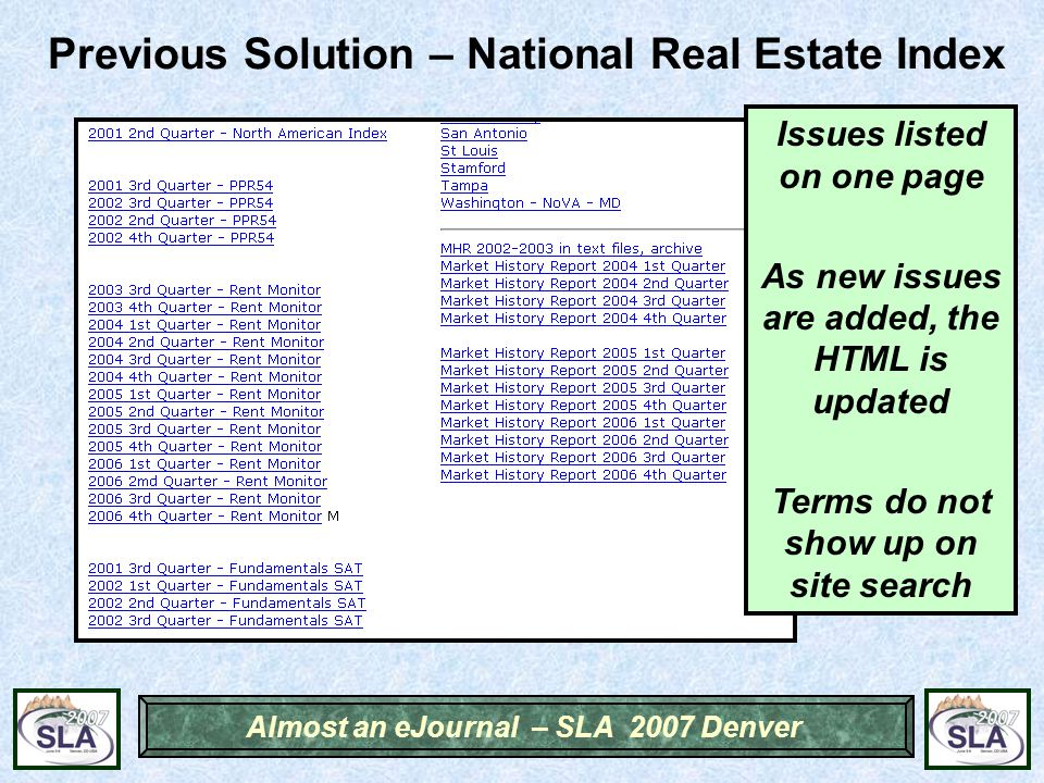 Almost an eJournal – SLA 2007 Denver Previous Solution – National Real Estate Index Issues listed on one page As new issues are added, the HTML is updated Terms do not show up on site search
