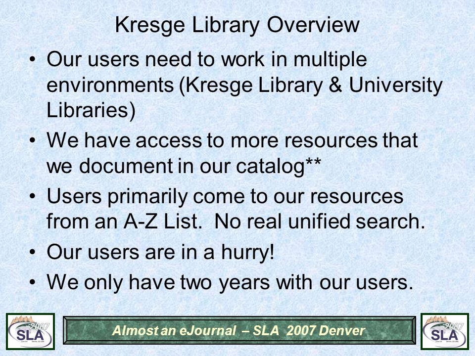 Almost an eJournal – SLA 2007 Denver Previous Solution – National Real Estate Index Single Catalog Record for Whole Publication