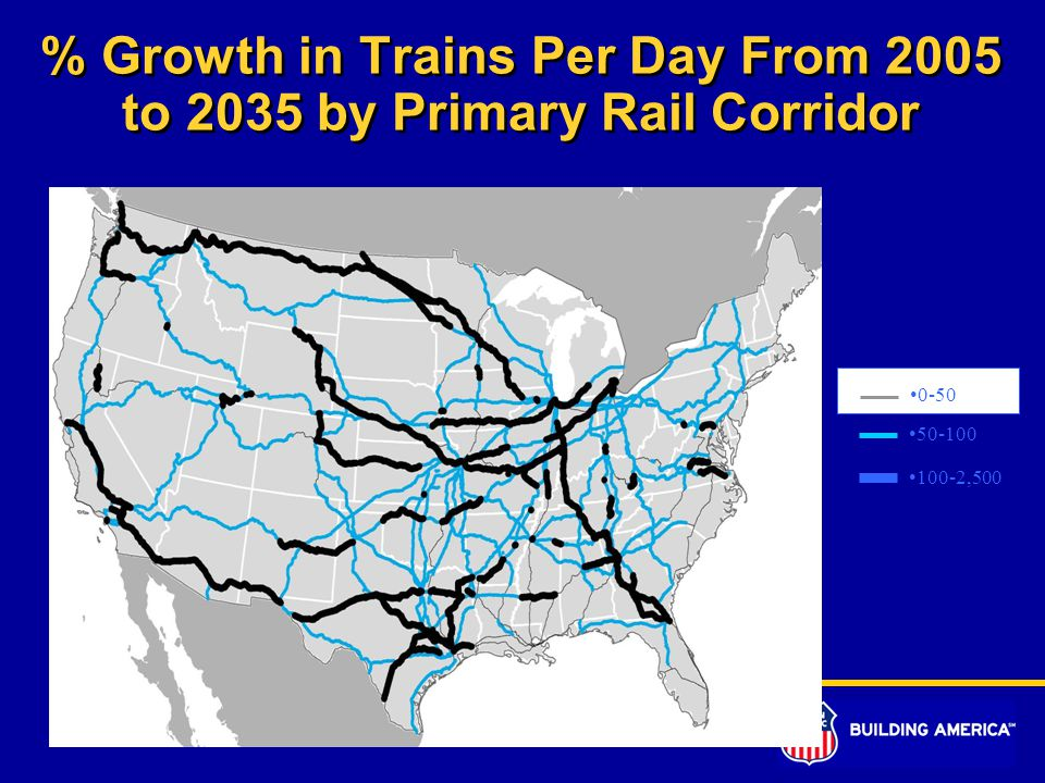% Growth in Trains Per Day From 2005 to 2035 by Primary Rail Corridor 0-50 50-100 100-2,500