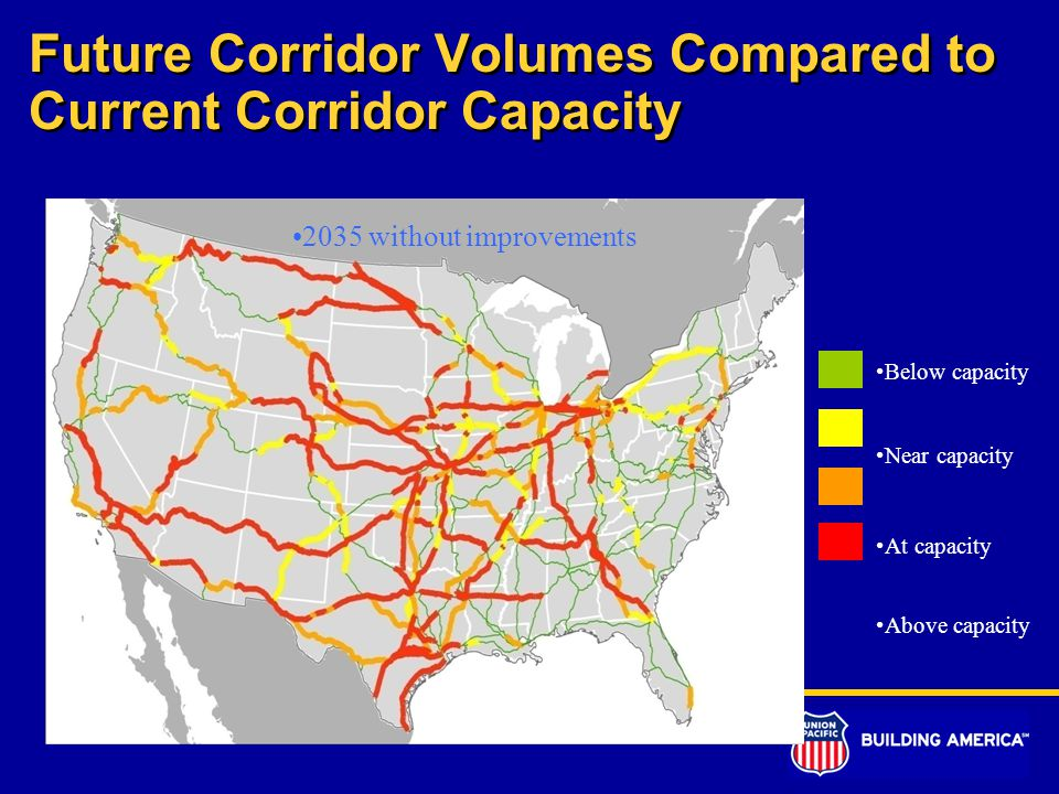 Future Corridor Volumes Compared to Current Corridor Capacity Below capacity Near capacity At capacity Above capacity 2035 without improvements