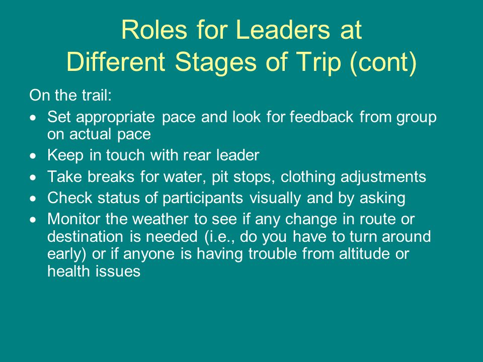 Roles for Leaders at Different Stages of Trip (cont) On the trail:  Set appropriate pace and look for feedback from group on actual pace  Keep in touch with rear leader  Take breaks for water, pit stops, clothing adjustments  Check status of participants visually and by asking  Monitor the weather to see if any change in route or destination is needed (i.e., do you have to turn around early) or if anyone is having trouble from altitude or health issues