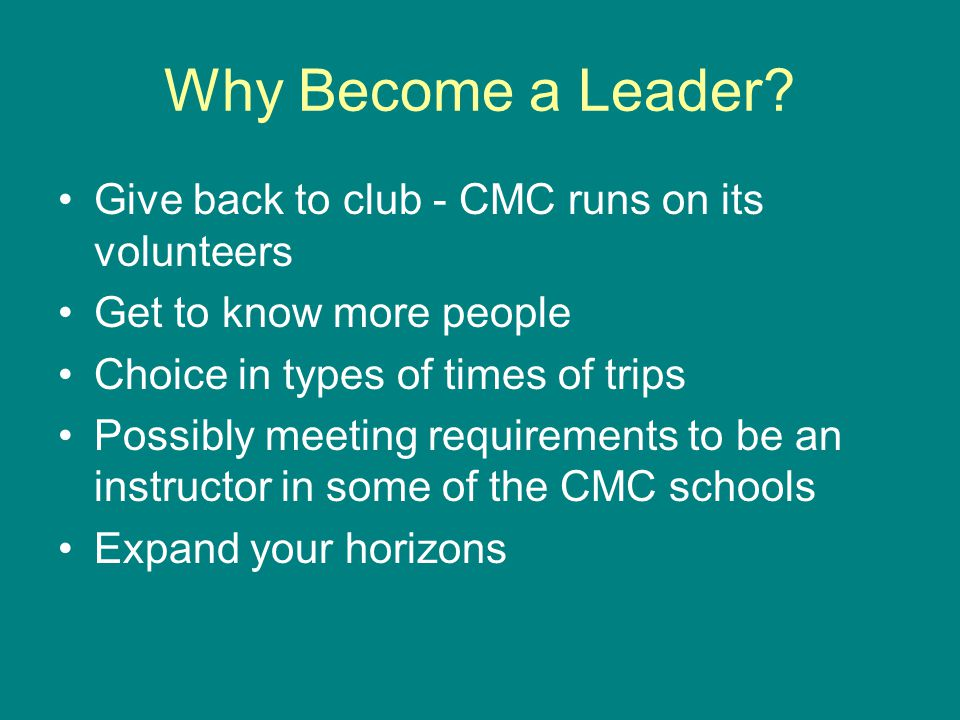 Why Become a Leader.