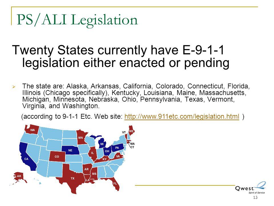 13 PS/ALI Legislation Twenty States currently have E-9-1-1 legislation either enacted or pending  The state are: Alaska, Arkansas, California, Colora
