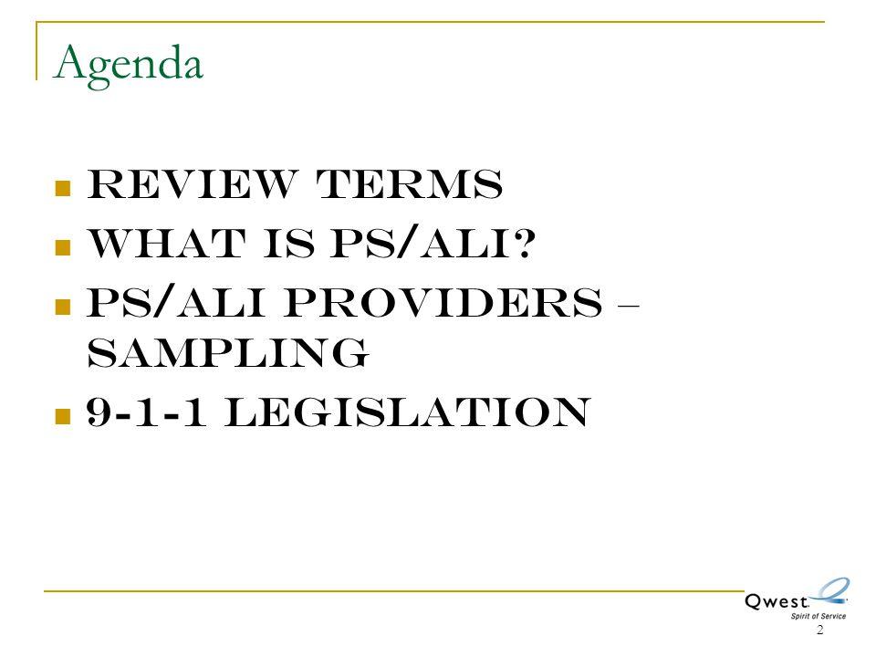 2 Agenda Review Terms What is PS/ALI? PS/ALI providers – sampling 9-1-1 legislation