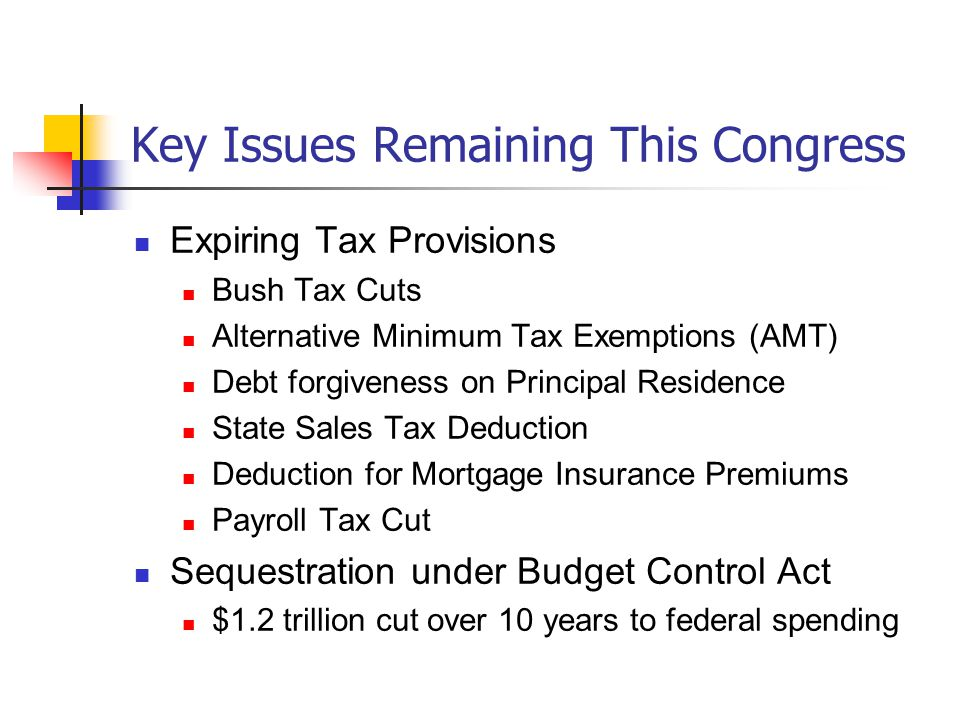 Key Issues Remaining This Congress Expiring Tax Provisions Bush Tax Cuts Alternative Minimum Tax Exemptions (AMT) Debt forgiveness on Principal Residence State Sales Tax Deduction Deduction for Mortgage Insurance Premiums Payroll Tax Cut Sequestration under Budget Control Act $1.2 trillion cut over 10 years to federal spending