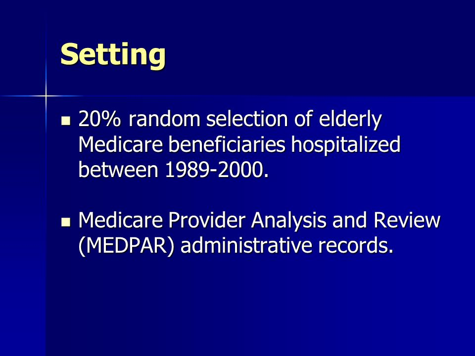 Setting 20% random selection of elderly Medicare beneficiaries hospitalized between 1989-2000.