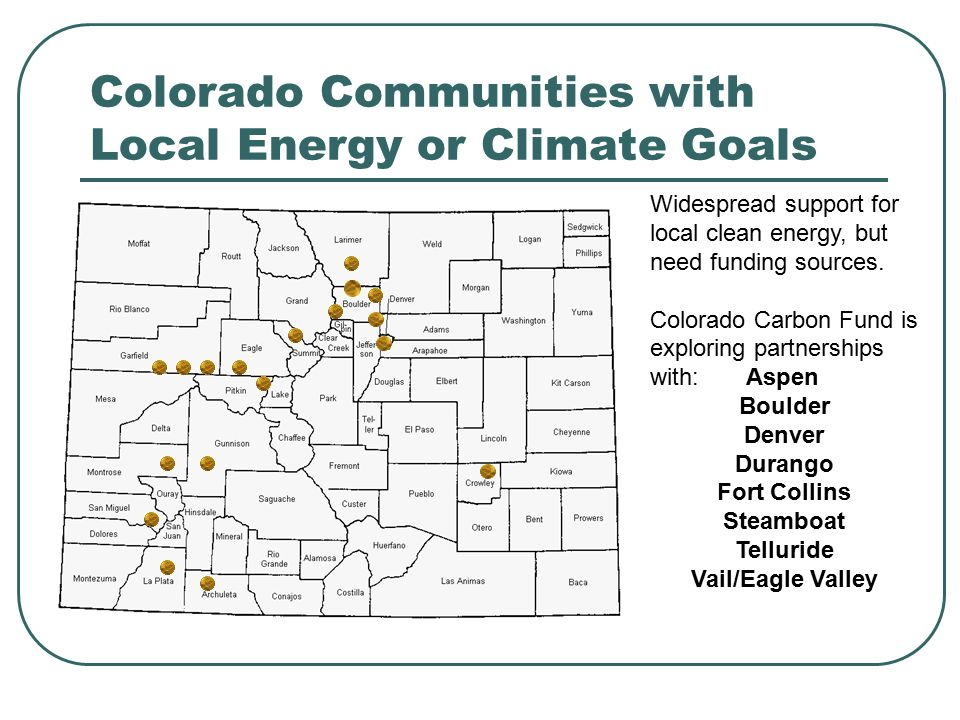 October 15: GEO Workshop on Local Gov't Energy and Sustainability Details on both events at: www.colorado.gov/energy